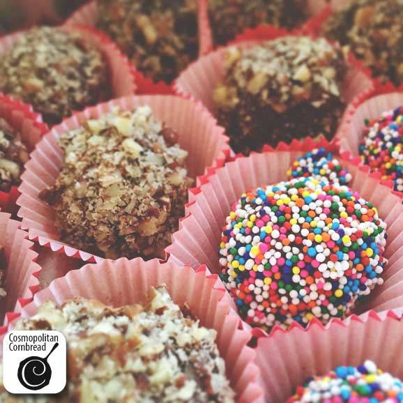 Holiday Bourbon Truffles - they may look sweet and innocent, but look out! They are wickedly good! Get the recipe from Cosmopolitan Cornbread