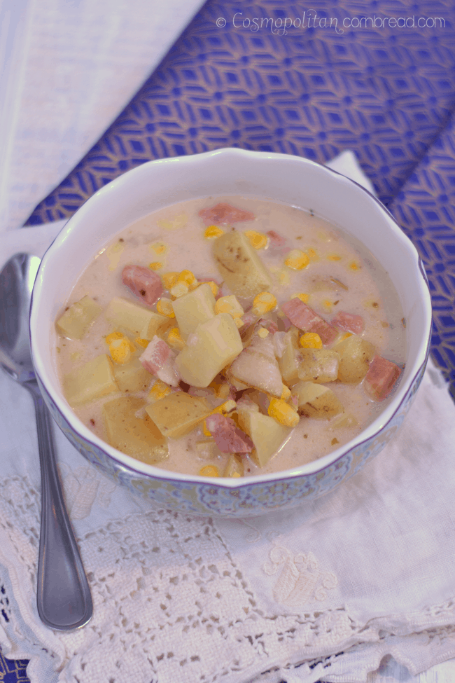 Ham & Corn Chowder from Cosmopolitan Cornbread - a great use of leftover holiday ham!