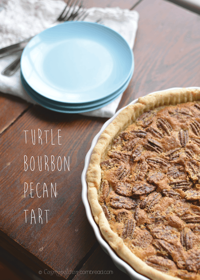 Turtle Bourbon Pecan Tart with pecans, chocolate and bourbon – heavenly!