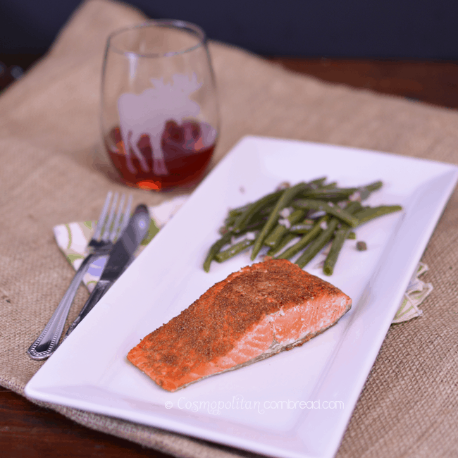 Coriander Salmon with Capered Green Beans