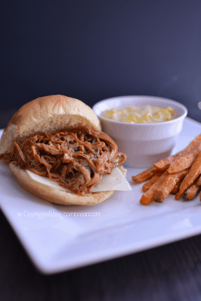 Slow Cooker Cola Barbecue Pulled Pork from Cosmopolitan Cornbread