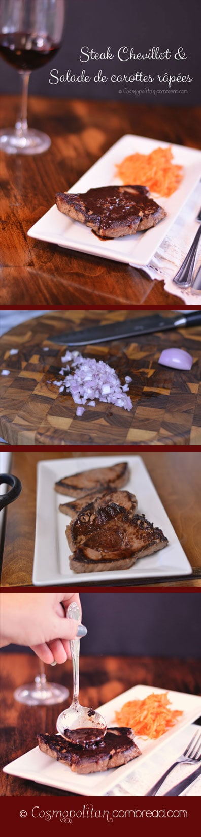 Steak Chevillot and Salade de carottes râpées   Beautiful, seared sirloin steak bathed in a red wine and shallot pan sauce and served with a fresh carrot salad. Get the recipe from Cosmopolitan Cornbread