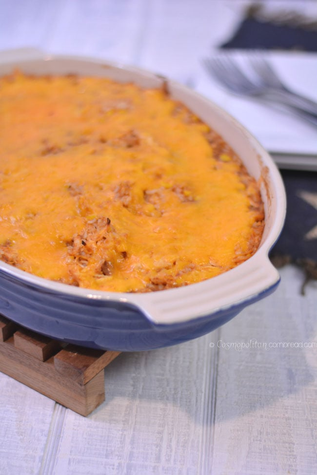 Chicken Enchilada Casserole - a budget friendly meal from Cosmopolitan Cornbread