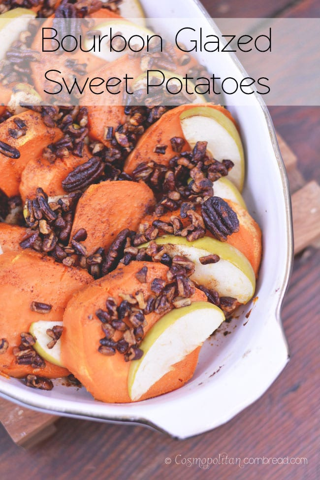 Bourbon Glazed Sweet Potatoes - a simple and elegant side dish for your holiday spread. Get the recipe from Cosmopolitan Cornbread