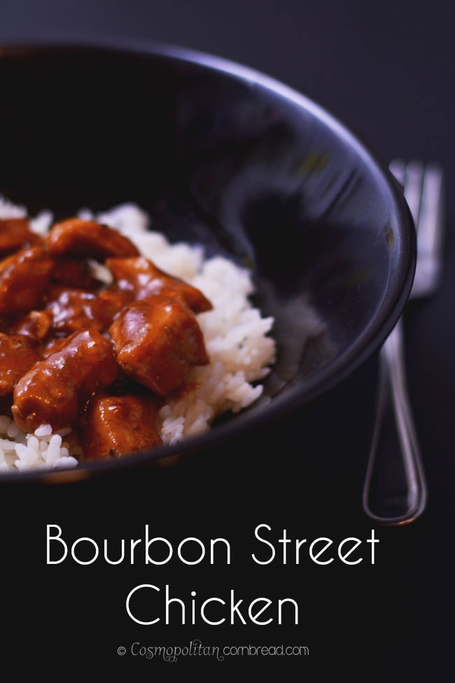 Bourbon Street Chicken - a delicious dish that is rich on flavor yet short on time. A great busy night meal from Cosmopolitan Cornbread