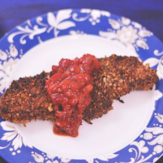 Pecan Crusted Chicken with Strawberry Chipotle Salsa   #FLStrawberry