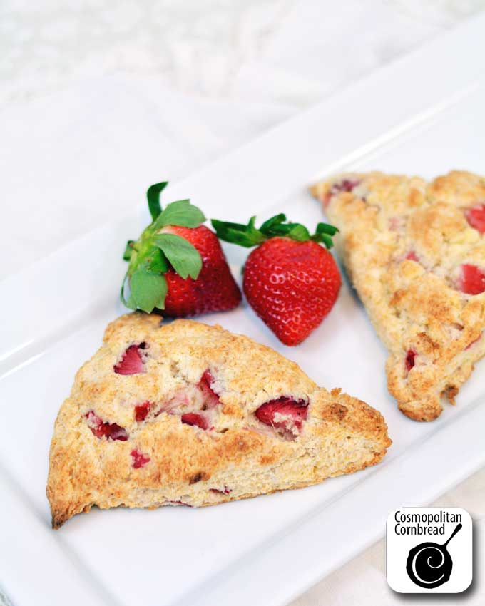 Treat your sweethearts to these scrumptious Strawberry Scones from Cosmopolitan Cornbread