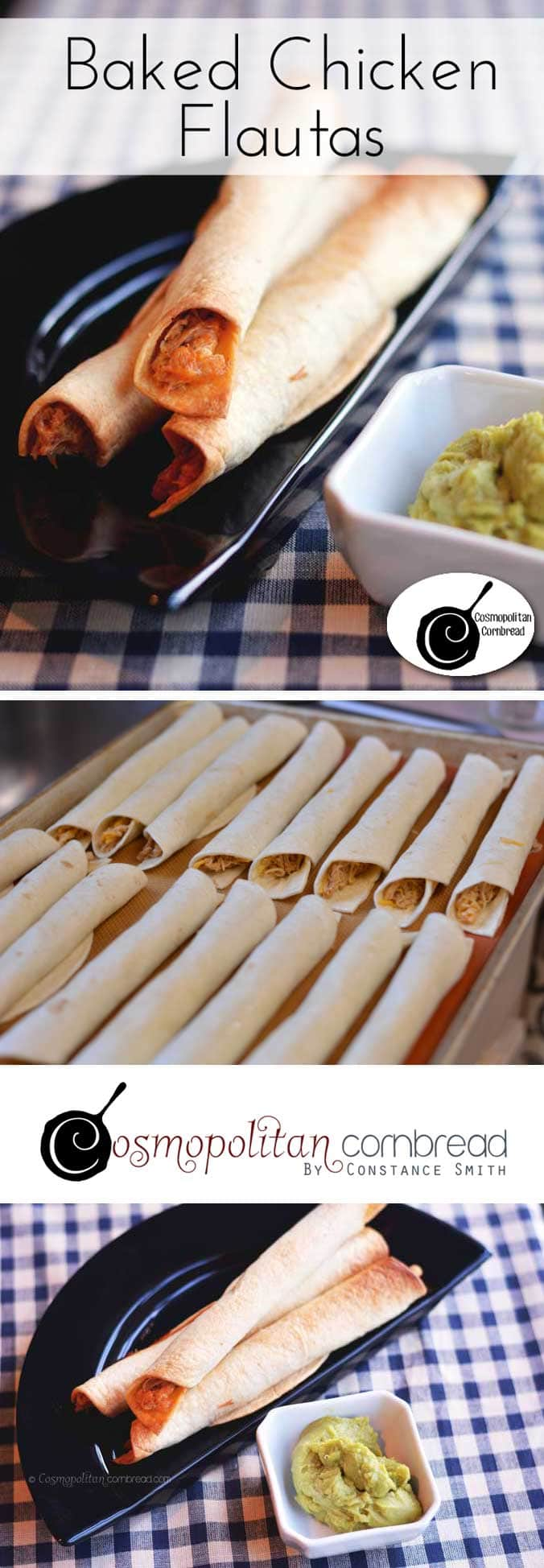 How to make Baked Chicken Flautas - they make a great appetizer or finger food meal. Get the recipe from Cosmopolitan Cornbread