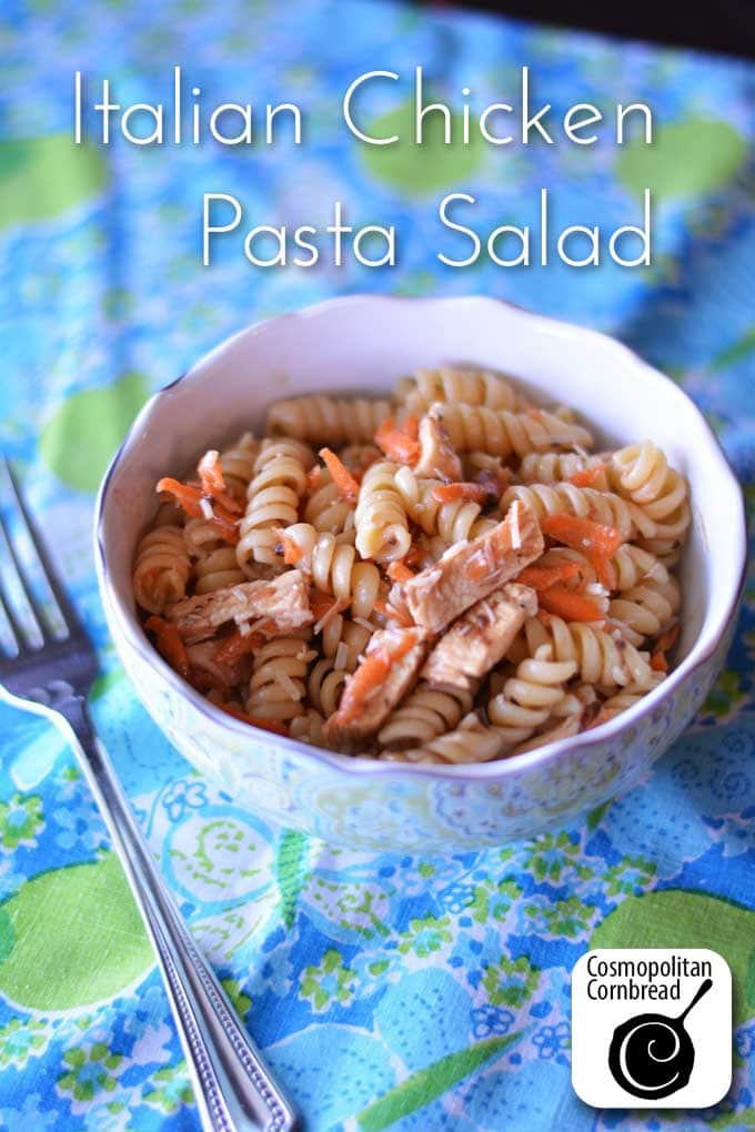 Enjoy this chicken pasta salad any night of the week. It also makes a great potluck or picnic dish!
