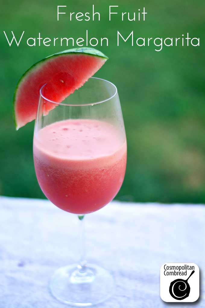 Enjoy this perfect summer cocktail with fresh watermelon. Make yourself and your guests a Fresh Fruit Watermelon Margarita. Get the recipe from Cosmopolitan Cornbread