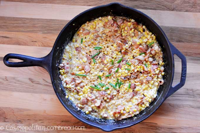 Skillet Corn with Bacon - the perfect summer dish from Cosmopolitan Cornbread