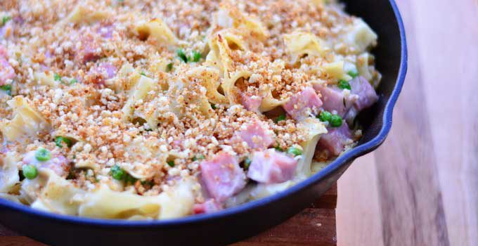 Ham Noodle Casserole is a delicious and homey meal your family will love. Get the recipe from Cosmopolitan Cornbread