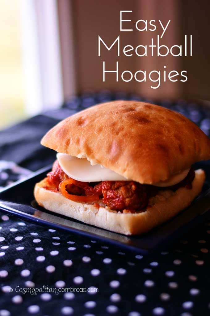 Easy Meatball Hoagies from your slow cooker - get the recipe from Cosmopolitan Cornbread