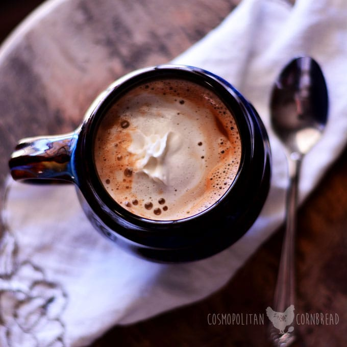 Turtle Hot Chocolate - the perfect, cozy drink for a cold wintery day. Get the recipe and two more hot chocolate variations from Cosmopolitan Cornbread