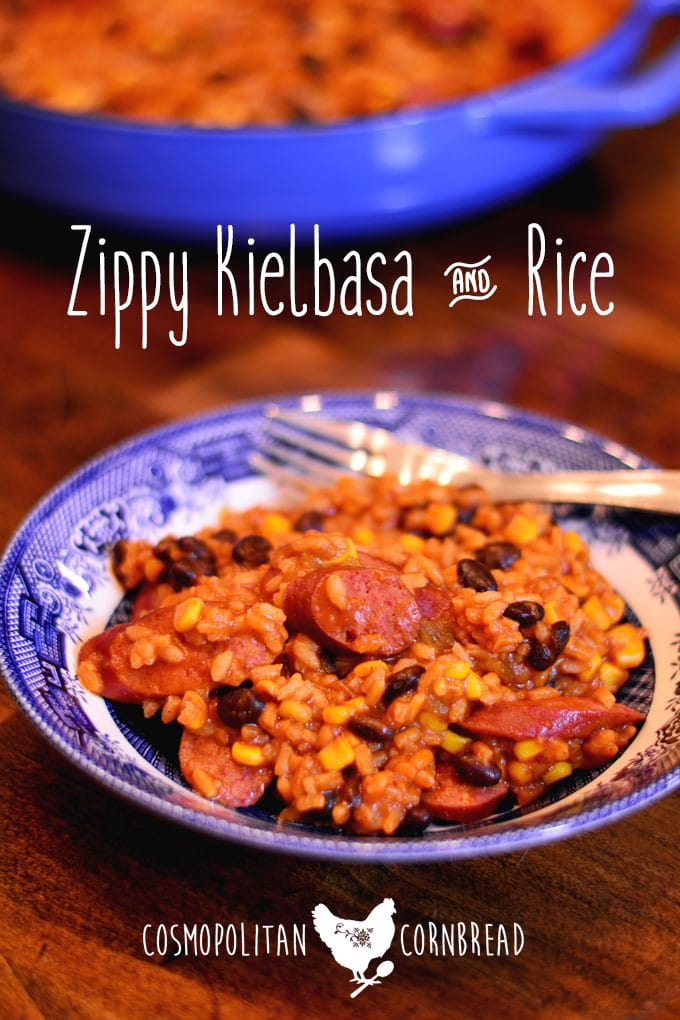 Zippy Kielbasa & Rice - full of flavor and a little bit of heat. Get the recipe from Cosmopolitan Cornbread