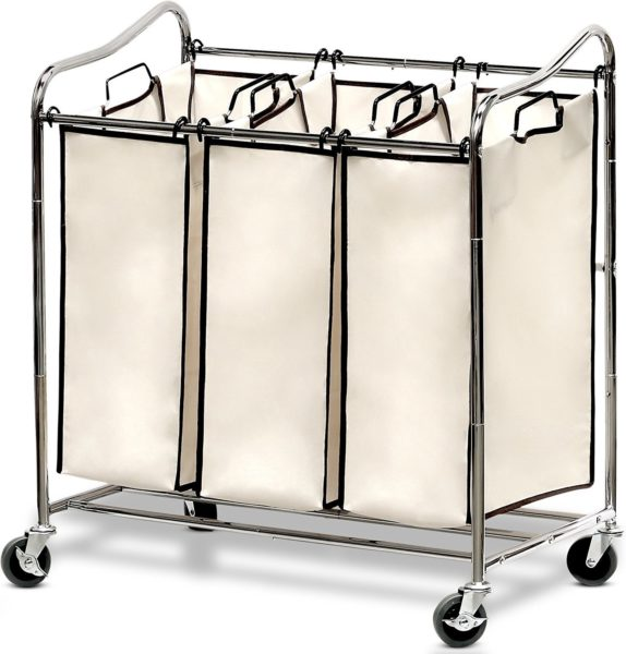 Triple rolling laundry cart