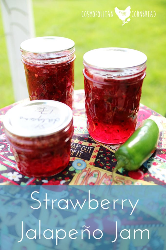 Strawberry Jalapeño Jam - the best jam you ever tasted. Make it and see. Get the recipe from Cosmopolitan Cornbread