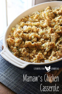 Diced chicken in a creamy sauce, topped with seasoned cornbread dressing/ You'll love this recipe from Mamaw. | Cosmopolitan Cornbread