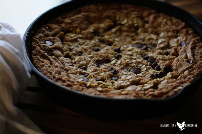 This skillet cookie combines all of your favorites - chocolate chip, peanut butter and oats for a delicious, super duper cookie experience. Super Skillet Cookie from Cosmopolitan Cornbread.