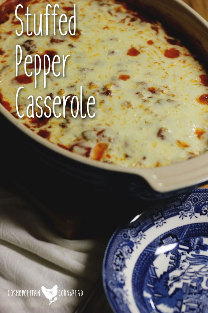 Stuffed Pepper Casserole from Cosmopolitan Cornbread | All of the flavor of the classic dish in the form of an easy casserole.