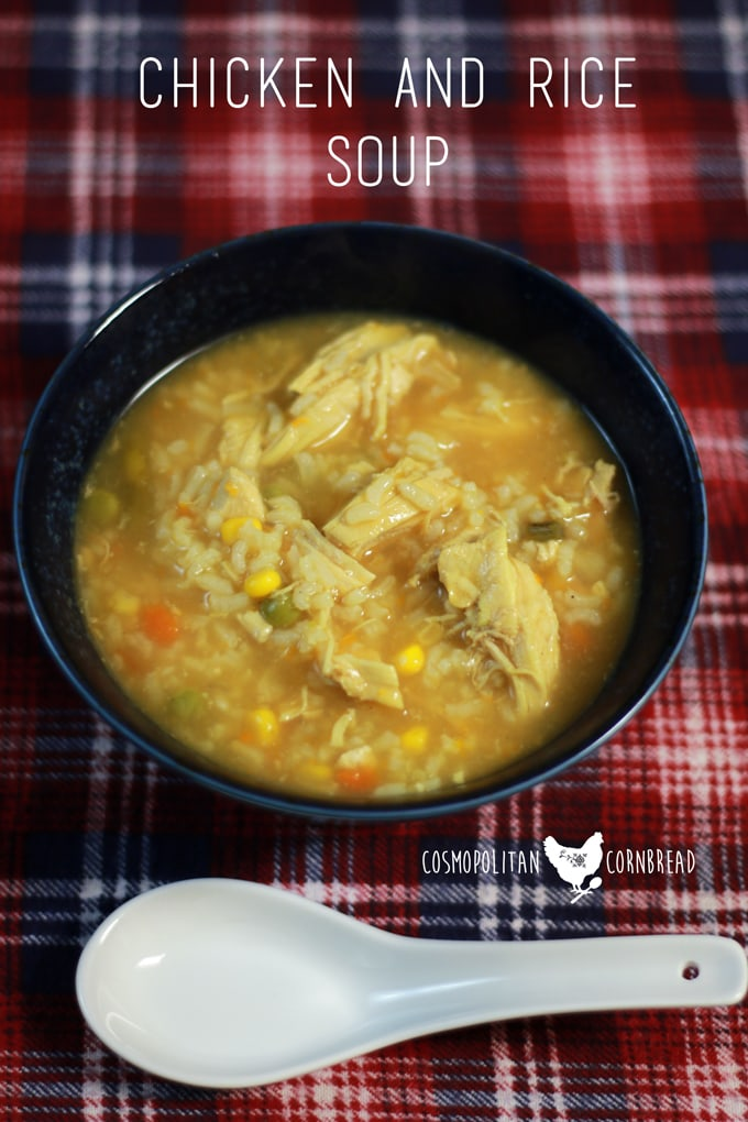 Chicken and Rice Soup - There's nothing better than a bowl of chicken soup on a cold winter day. Get the recipe from Cosmopolitan Cornbread.