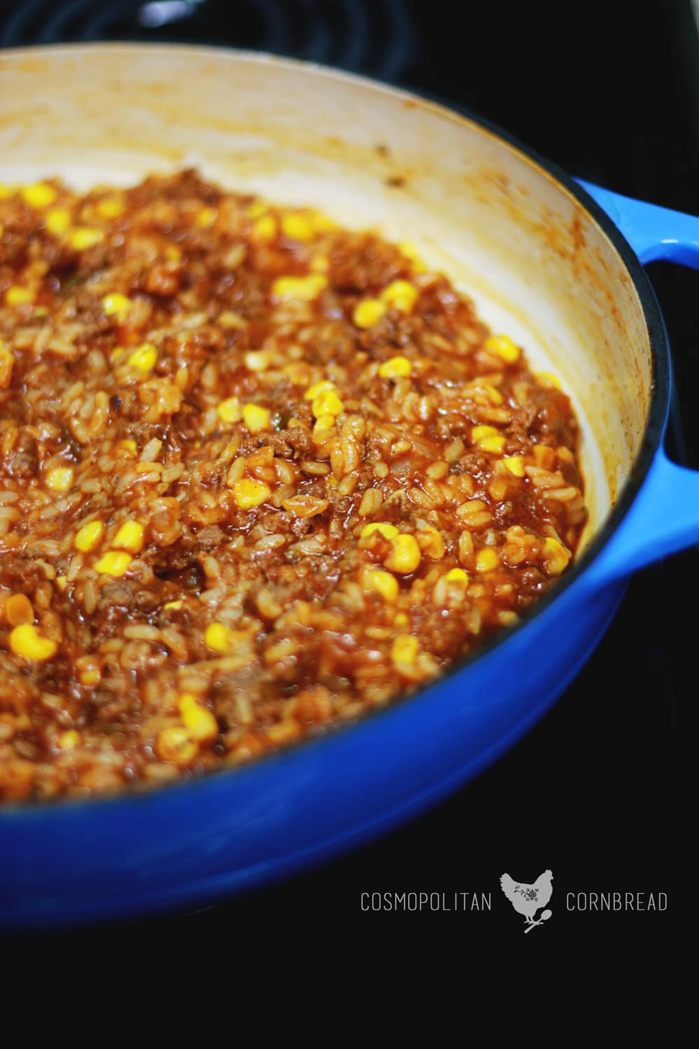 Spanish Rice Supper - a quick and easy one skillet meal | Cosmopolitan Cornbread