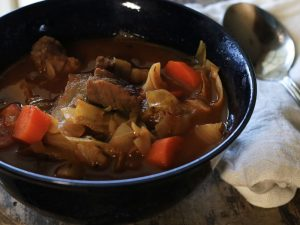 Paleo Irish Beef and Cabbage Soup - get the recipe from Cosmopolitan Cornbread