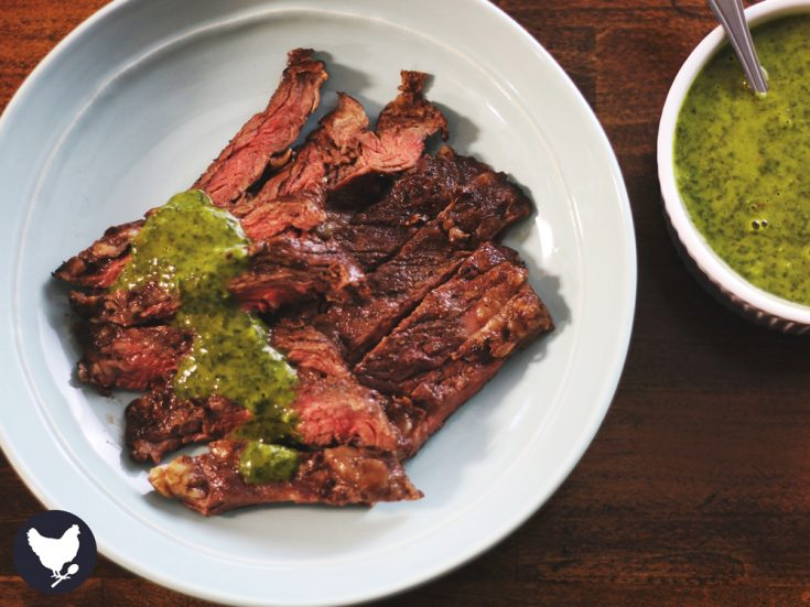 Juicy, tender grilled skirt steak drizzled with fresh and zesty chimichurri. You can not beat this!
