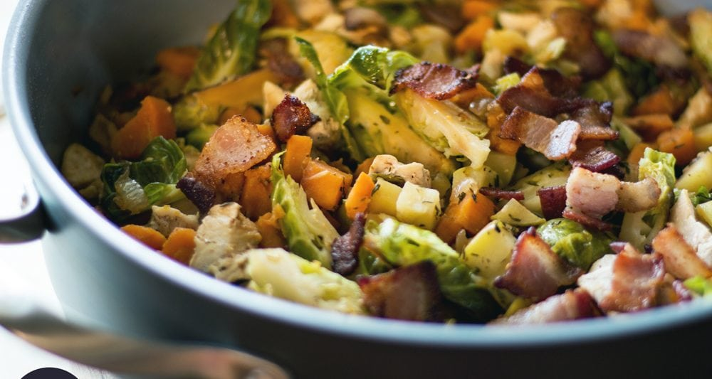 This paleo chicken skillet is loaded with flavors you will love, including bacon, sweet potato, apple and more!