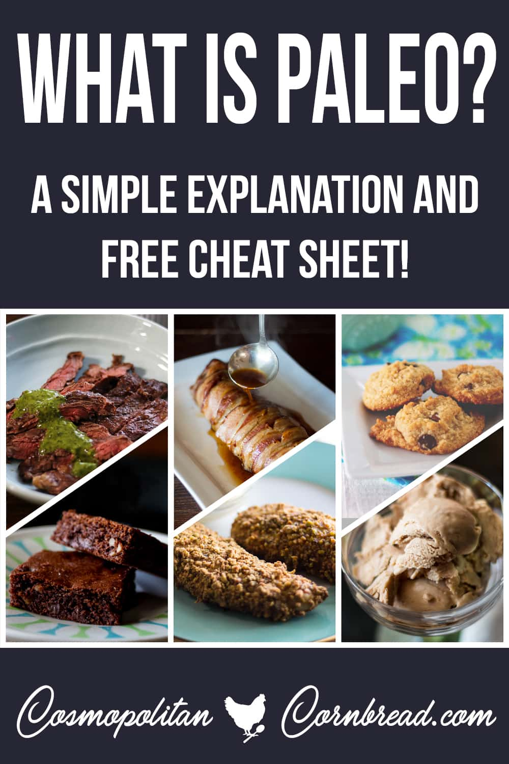 "What is the Paleo Diet? Get a simple explanation as well as a free printable cheat sheet of ""What is Paleo?"" from Cosmopolitan Cornbread. #paleo #lowcarb #glutenfree"