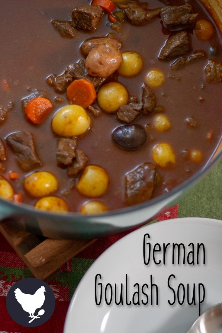 How to make German Goulash Soup. A rich and flavorful stew, traditionally served on New Year's Eve, but you can enjoy it all year long. Get the recipe from Cosmopolitan Cornbread. #paleo #soup #stew #German