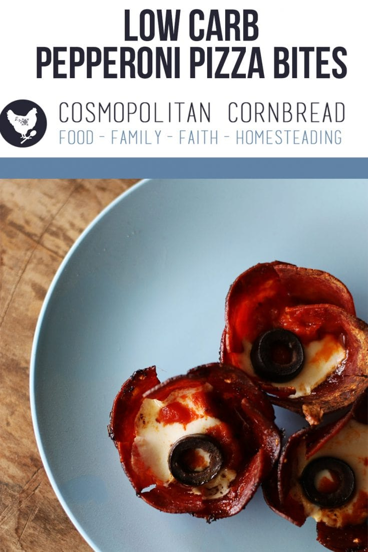 Low Carb Pepperoni Pizza Bites - a fun appetizer for the little kids...as well as the grown-up ones. | Cosmopolitan Cornbread