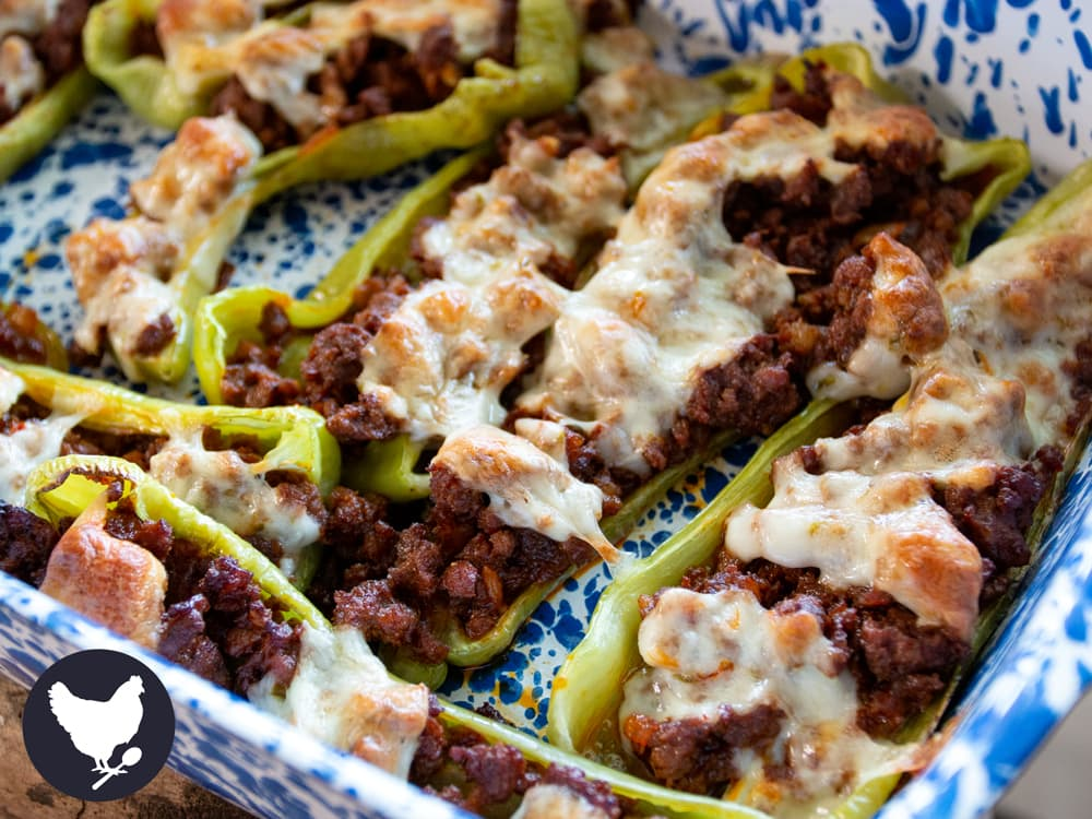 Fresh cubanelle peppers stuffed with chorizo sausage and melted cheese. A delicious way to use cubanelle peppers.