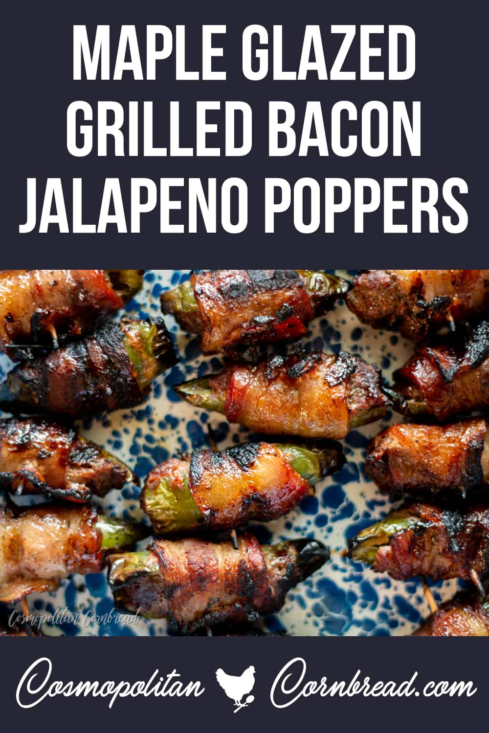 Maple Glazed Grilled Bacon Jalapeno Poppers - Flavorful jalapeno peppers, stuffed with seasoned meat, wrapped in bacon, grilled and glazed with maple. You will seriously not be able to stop eating these!
