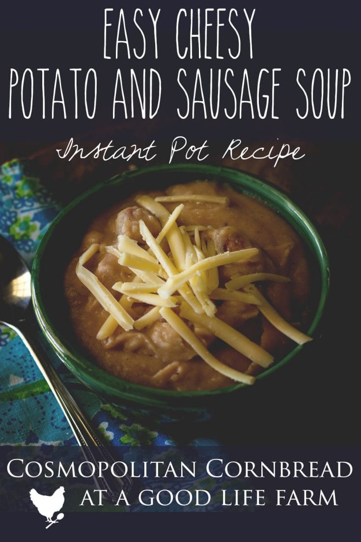 Easy Cheesy Potato & Sausage Soup - This soup is as easy to make as it is flavorful and filling! Creamy potato soup with smoked sausage and cheese. You can't get much better than that.