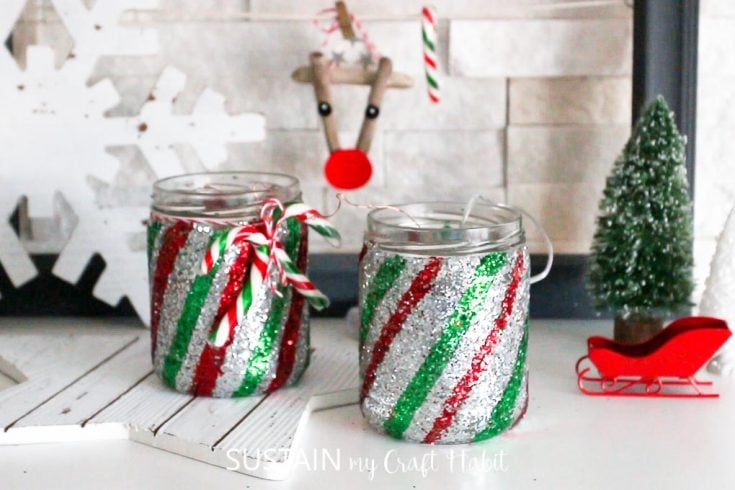 DIY Candy Cane Christmas Jars