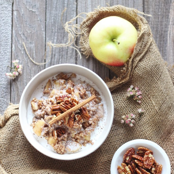 APPLE PIE STEEL CUT OATS WITH CANDIED MAPLE PECANS