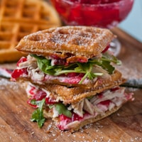 Waffled Cranberry Leftover Turkey Sandwiches
