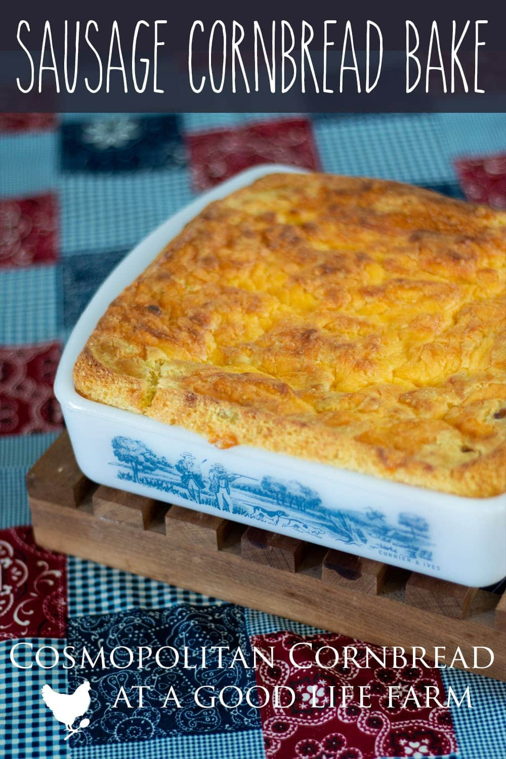 Sausage Cornbread Bake - With sausage, onion and cheese, this moist cornbread recipe is substantial enough to serve as a meal on its own. #sausage #cornbreadrecipe #casserole