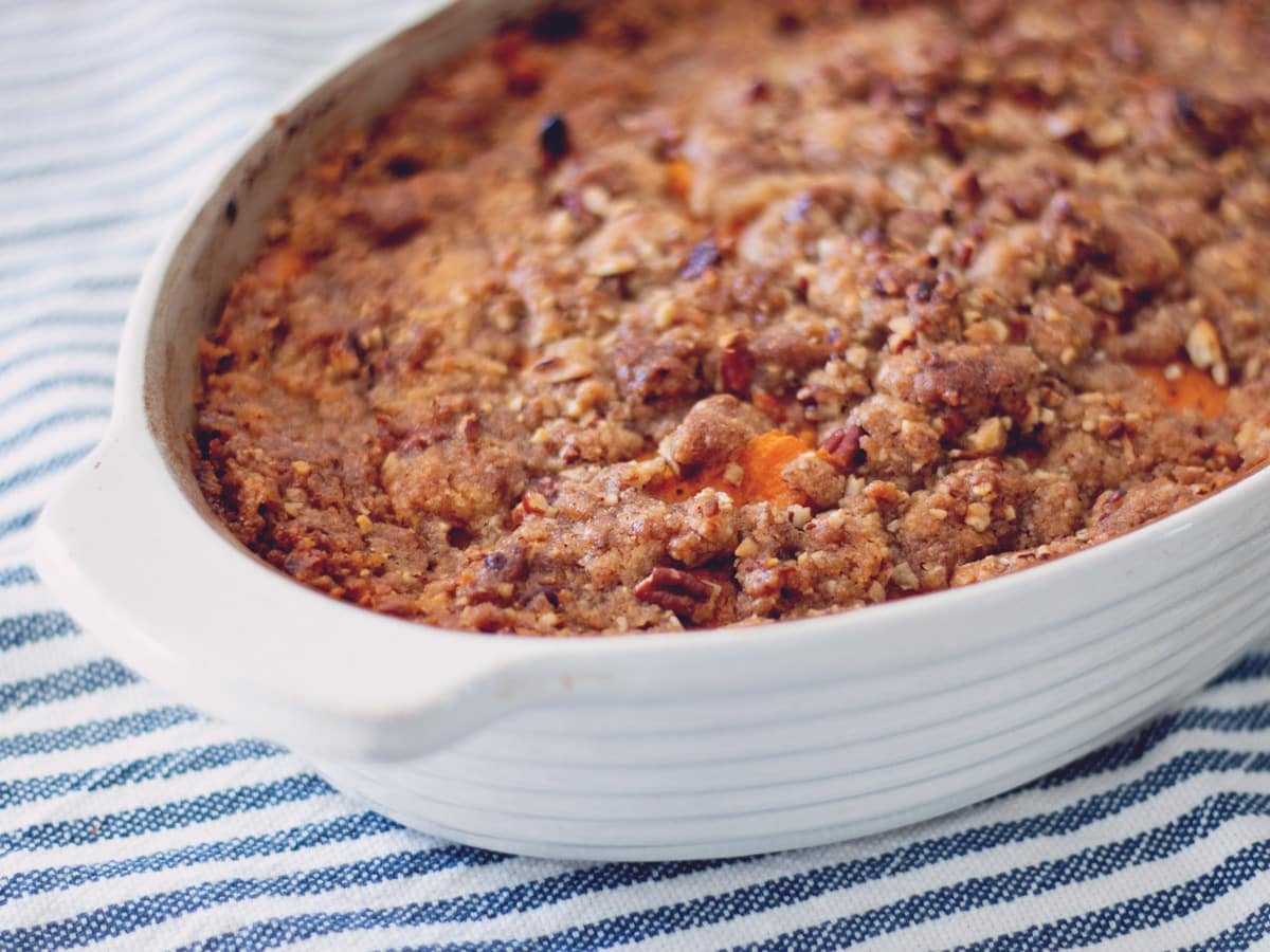 How to make Classic Sweet Potato Casserole with streusel topping.