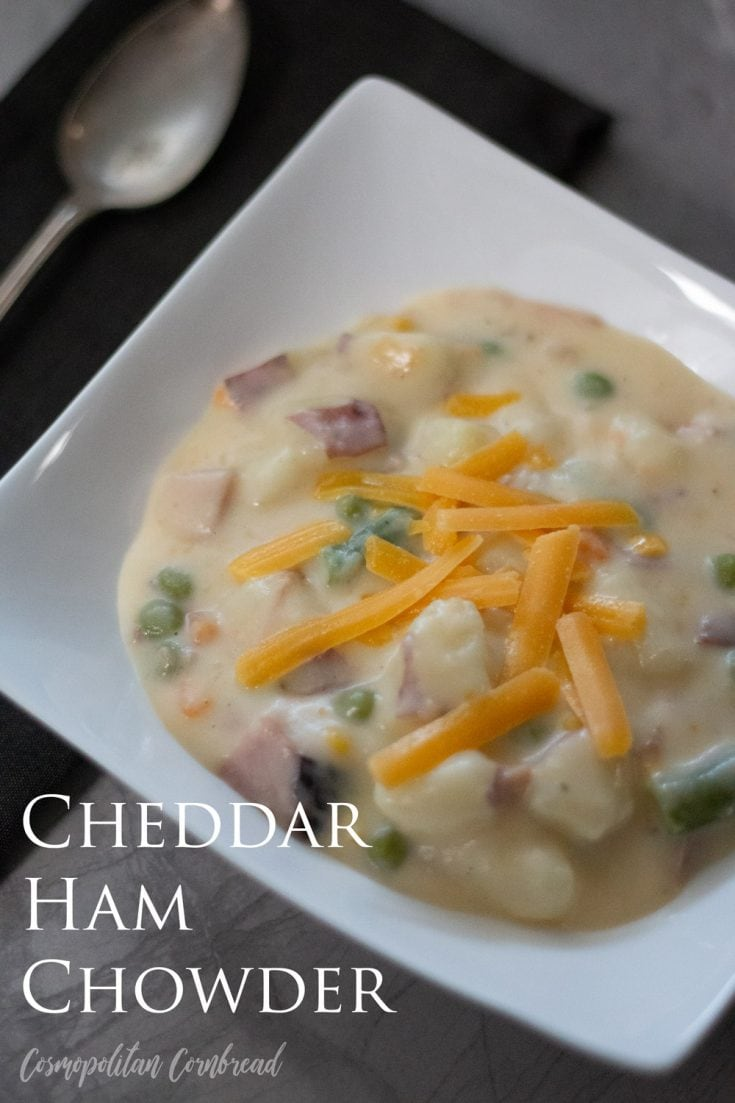 This is one of my favorite soups, and is fairly quick to make – making it perfect for a weekday supper. It is a great use for leftover ham during the holidays or any other day.