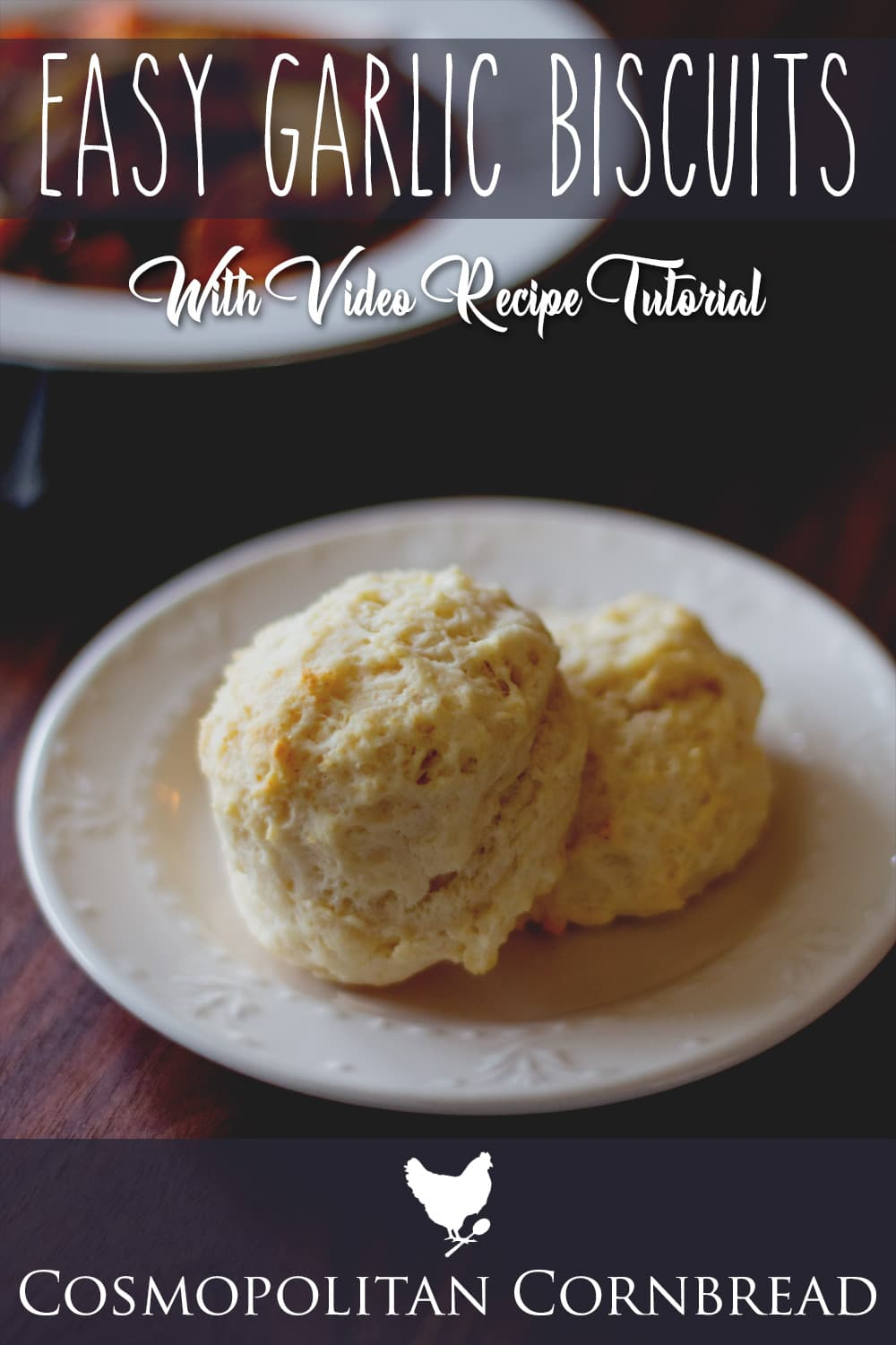 Easy Garlic Biscuits - Simple drop biscuits with tasty garlic flavor, great for with soups or pasta. Recipe from Cosmopolitan Cornbread
