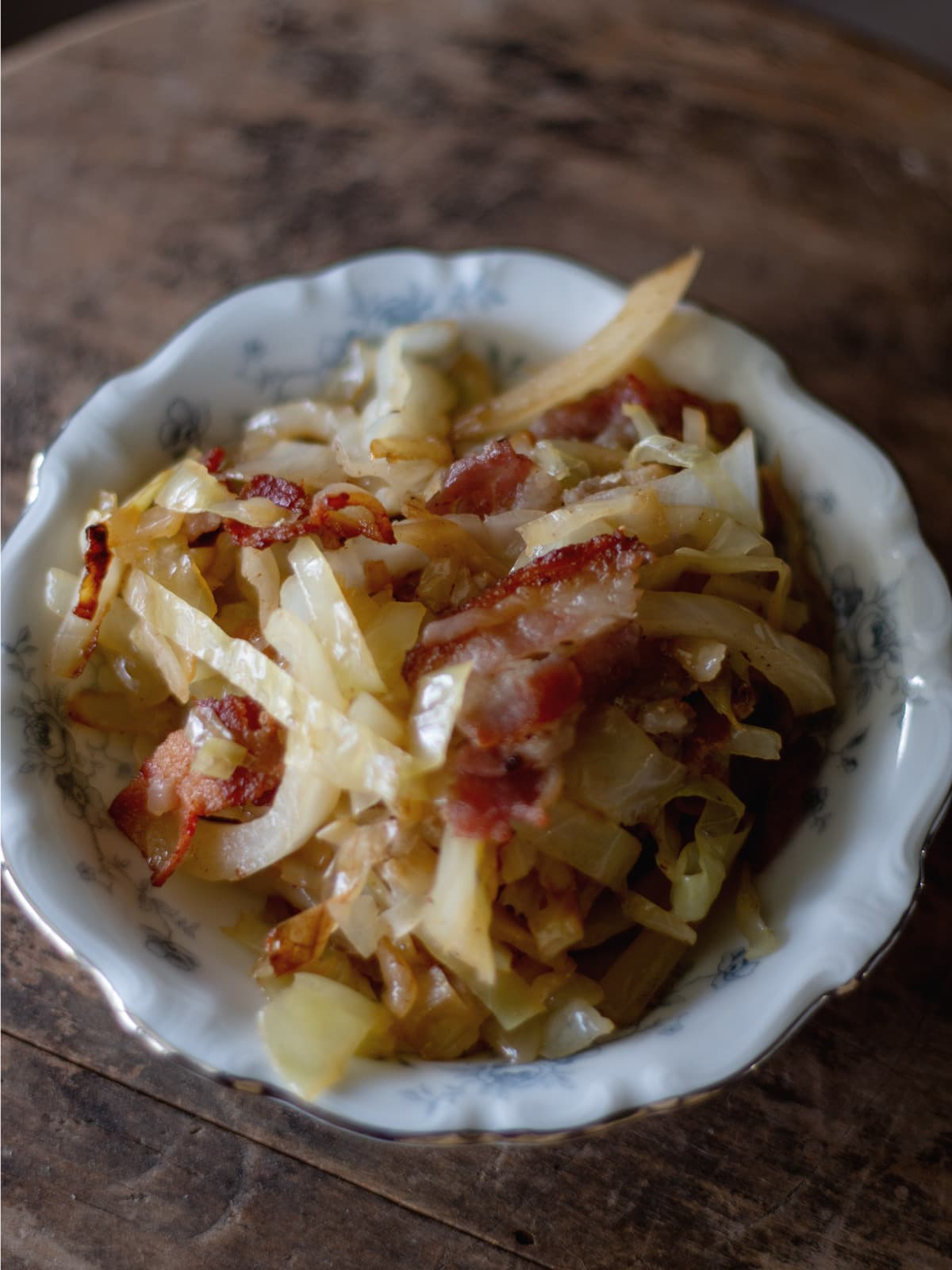 Country Fried Cabbage with Bacon - You can't get any more easy or delicious than this!