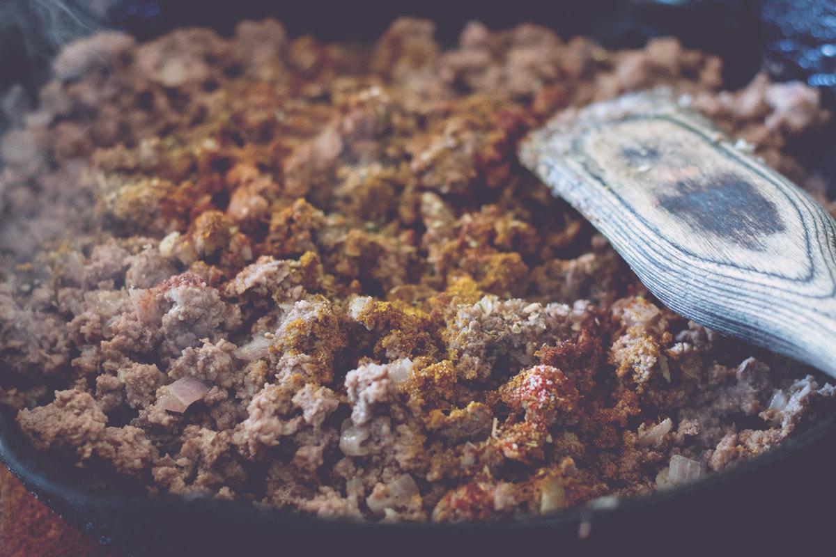 seasoned ground beef in skillet
