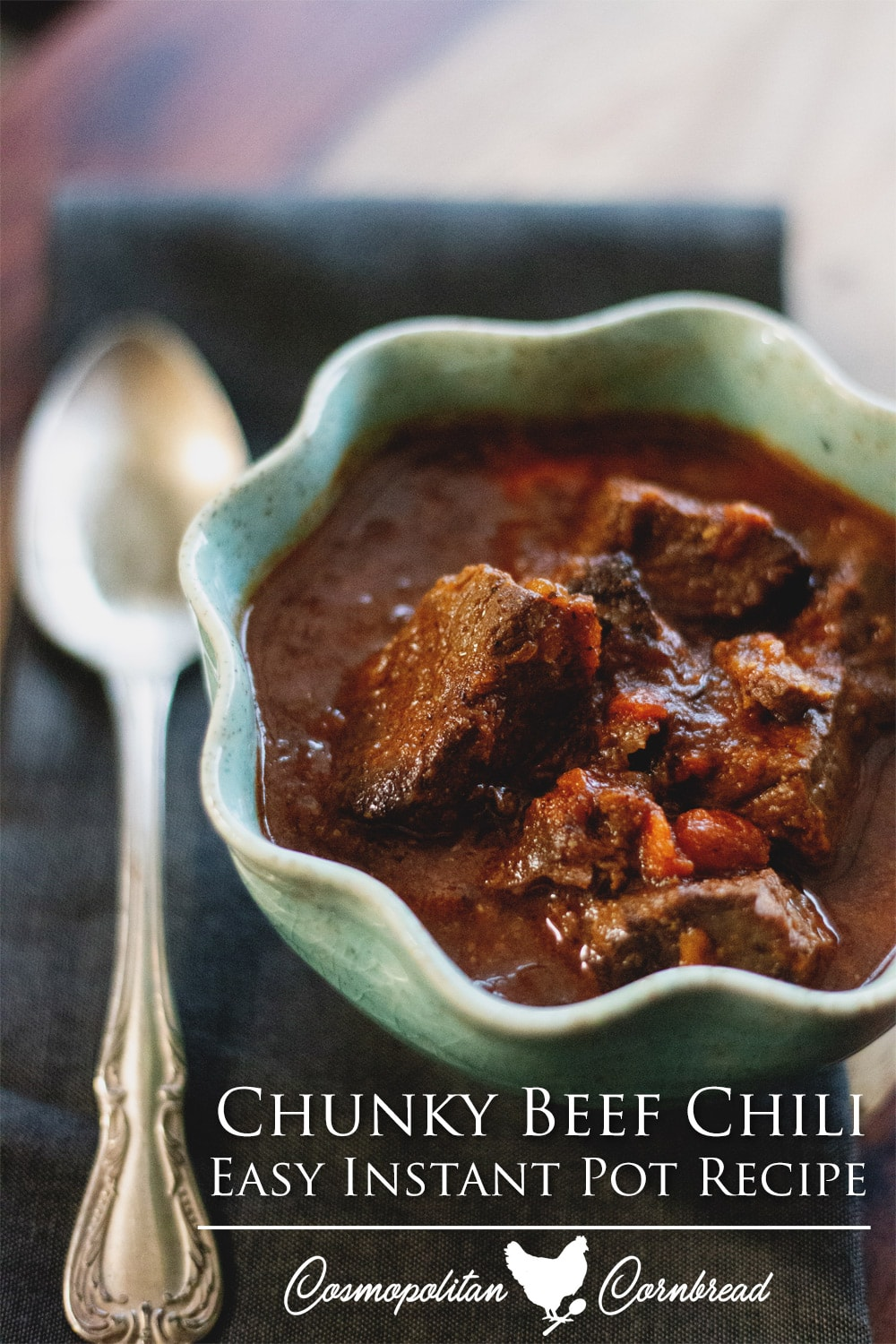 Chunky Beef Chili in the Instant Pot - Hearty beef chili with a rich, smokey flavor.
