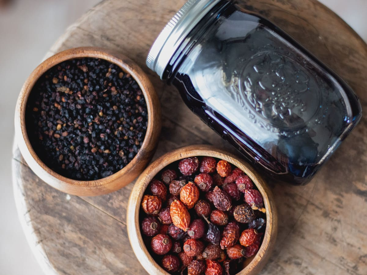 How to Make Homemade Elderberry Syrup using dried elderberries and rose hips.