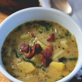Sweet Potato Chowder with Bacon and Spinach - Healthy, Paleo Soup recipe from Cosmopolitan Cornbread