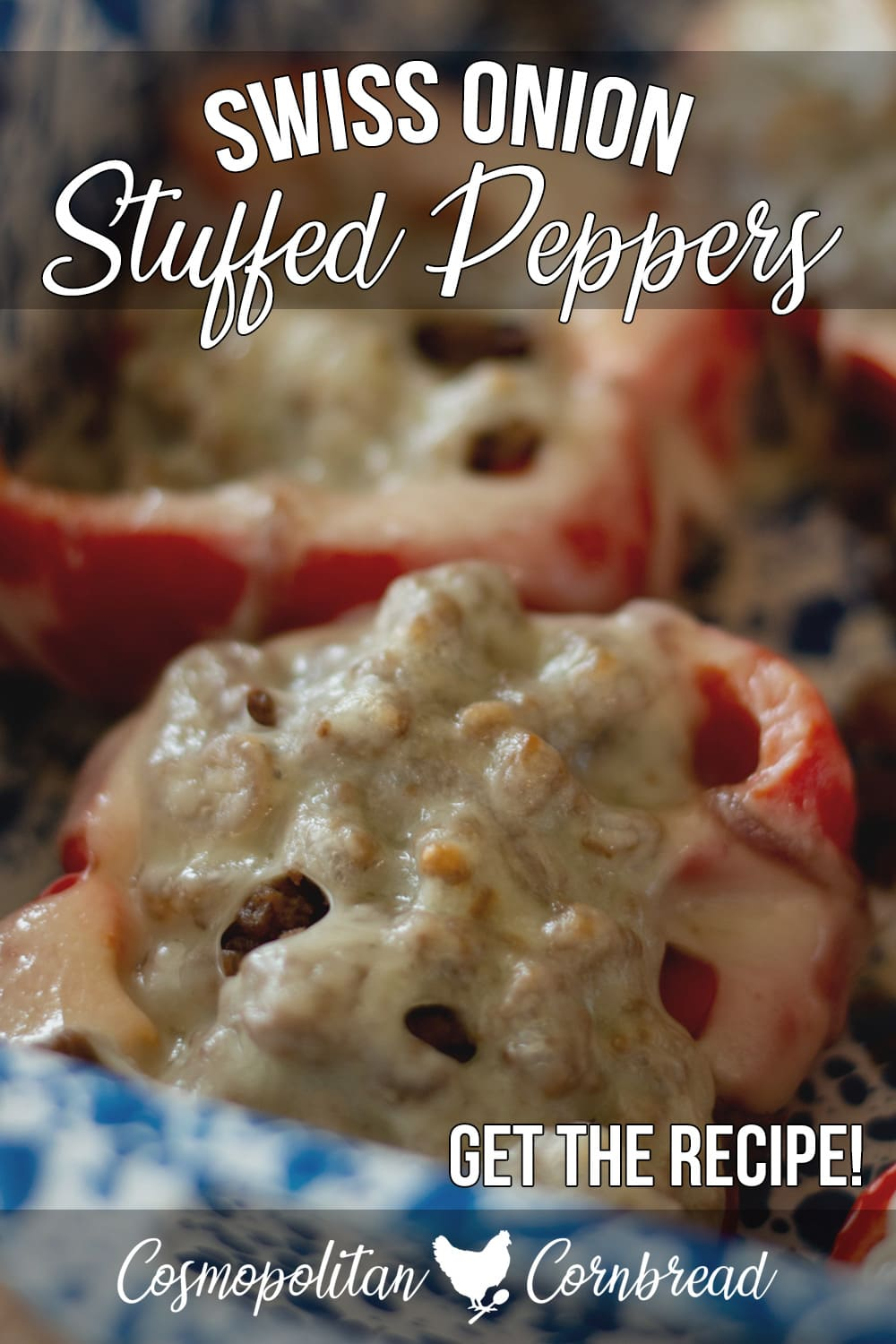 Swiss Onion Stuffed Peppers - Red bell peppers stuffed with caramelized onions, seasoned beef and smothered in melted Swiss cheese.