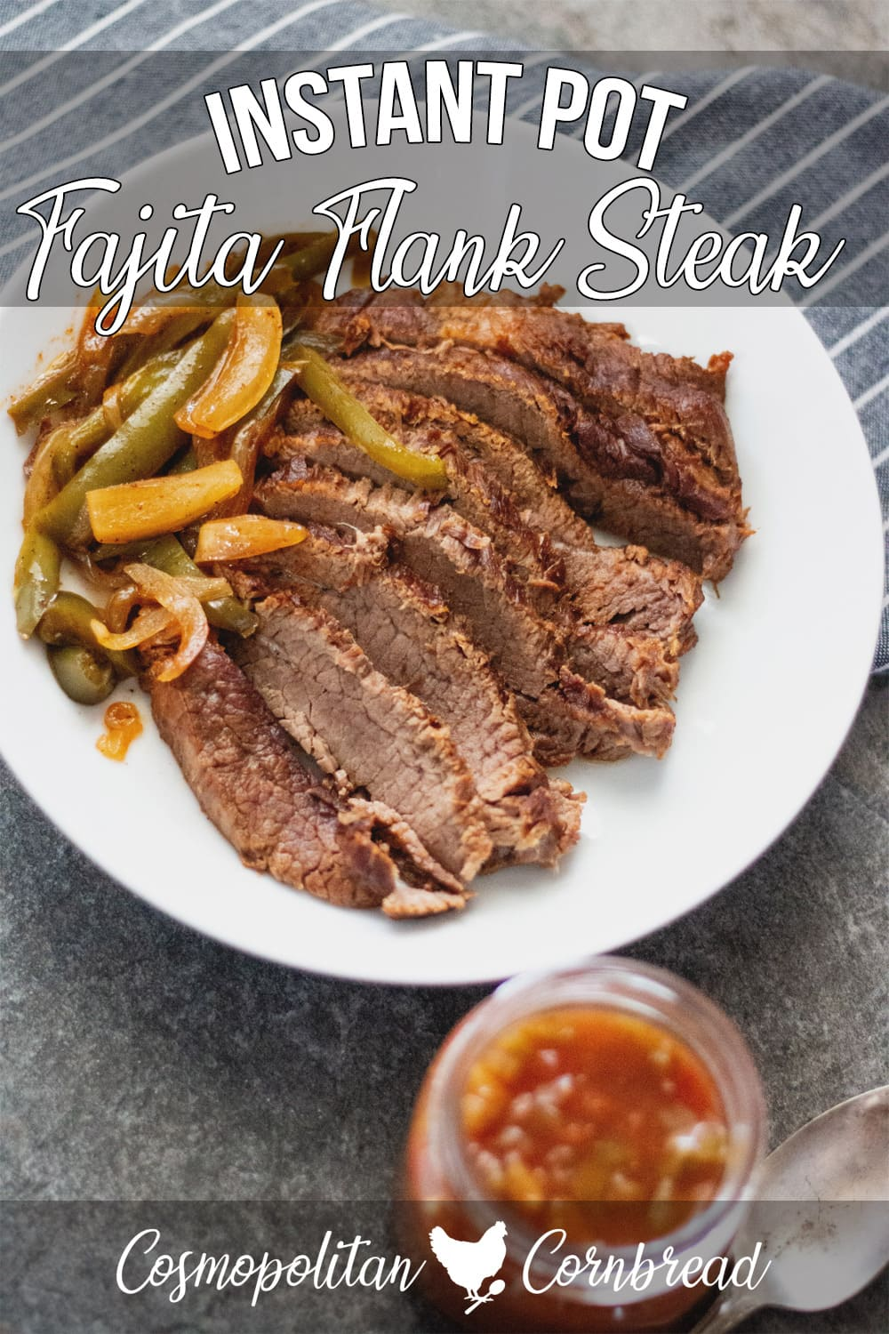 Tender strips of seasoned Fajita Flank Steak with onion and bell peppers, cooked to perfection in the Instant Pot. (paleo, keto)