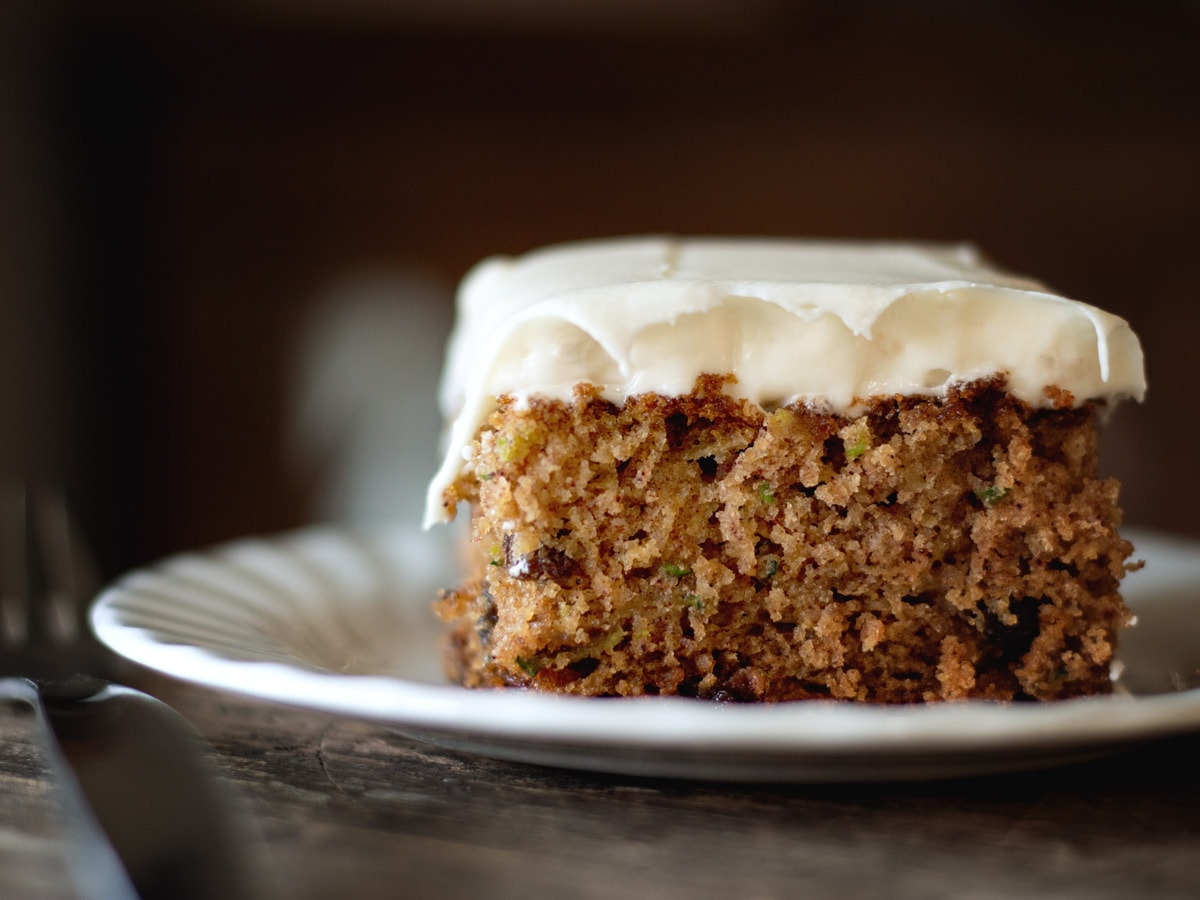Rustic Zucchini Cake with Cream Cheese Frosting from Cosmopolitan Cornbread
